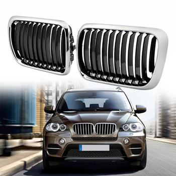 1pair Car Front Sport Grill Kidney Grilles Grill For BMW E36 3 Series 318i 323i 328i M3 1997-1999 Chrome Black image