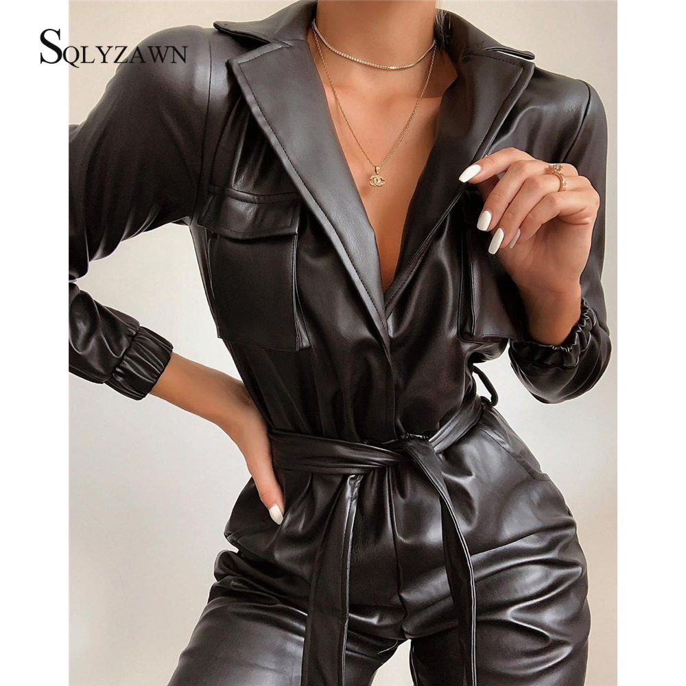 Turn Down Collar PU Leather Jumpsuit Women Autum Deep V Neck High Waist Pants Bodycon Pocket With Belt Party Rompers Jumpsuit