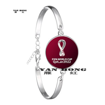 2022 Qatar World Cup Football League Middle East Beautiful Emblem Creates Fashion Zinc Alloy Bracelet Glass 20mm Round image