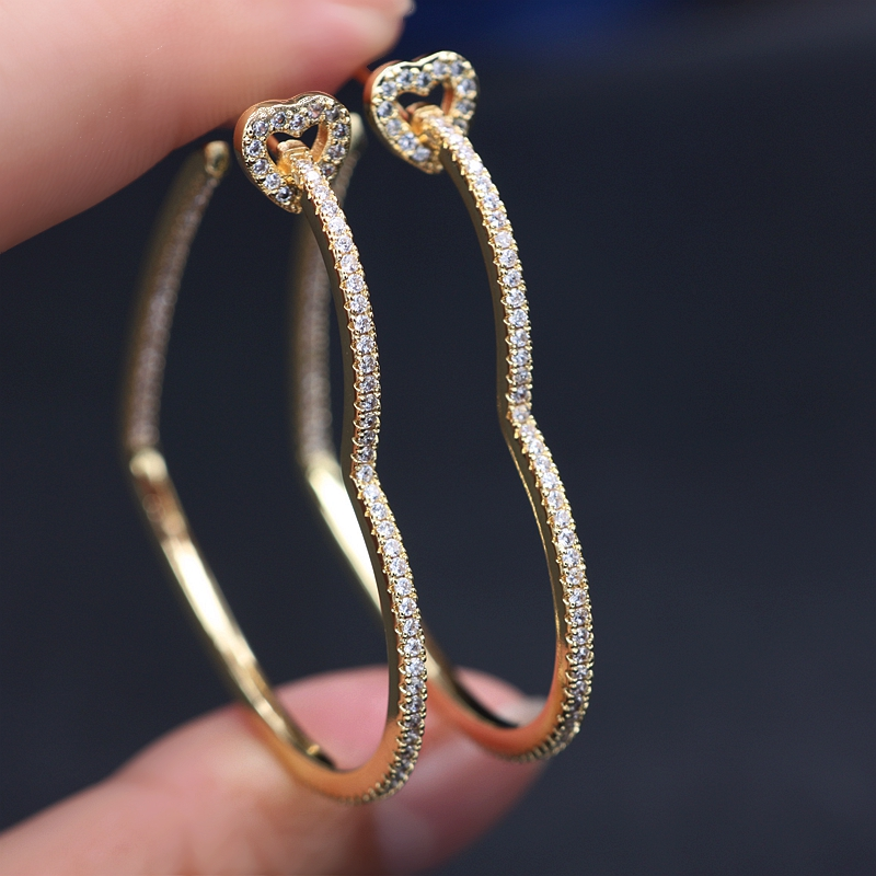Vintage Hollow Big Heart hoop Earrings Pave white Cubic Zircon Gold color Charm Simple geometry Earring 2019 Women Party Jewelry
