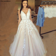 Wedding-Dresses Beaded Robe-De-Mariage Champagne Lace Appliques A-Line Floor-Length Cheap