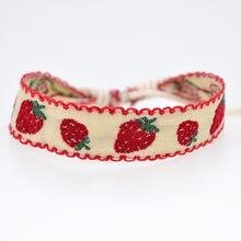 Abl085 (1), novo brilhante morango algodão linho pulseira retro cordão artesanal rendas bordado hippie amizade envoltório pulseiras