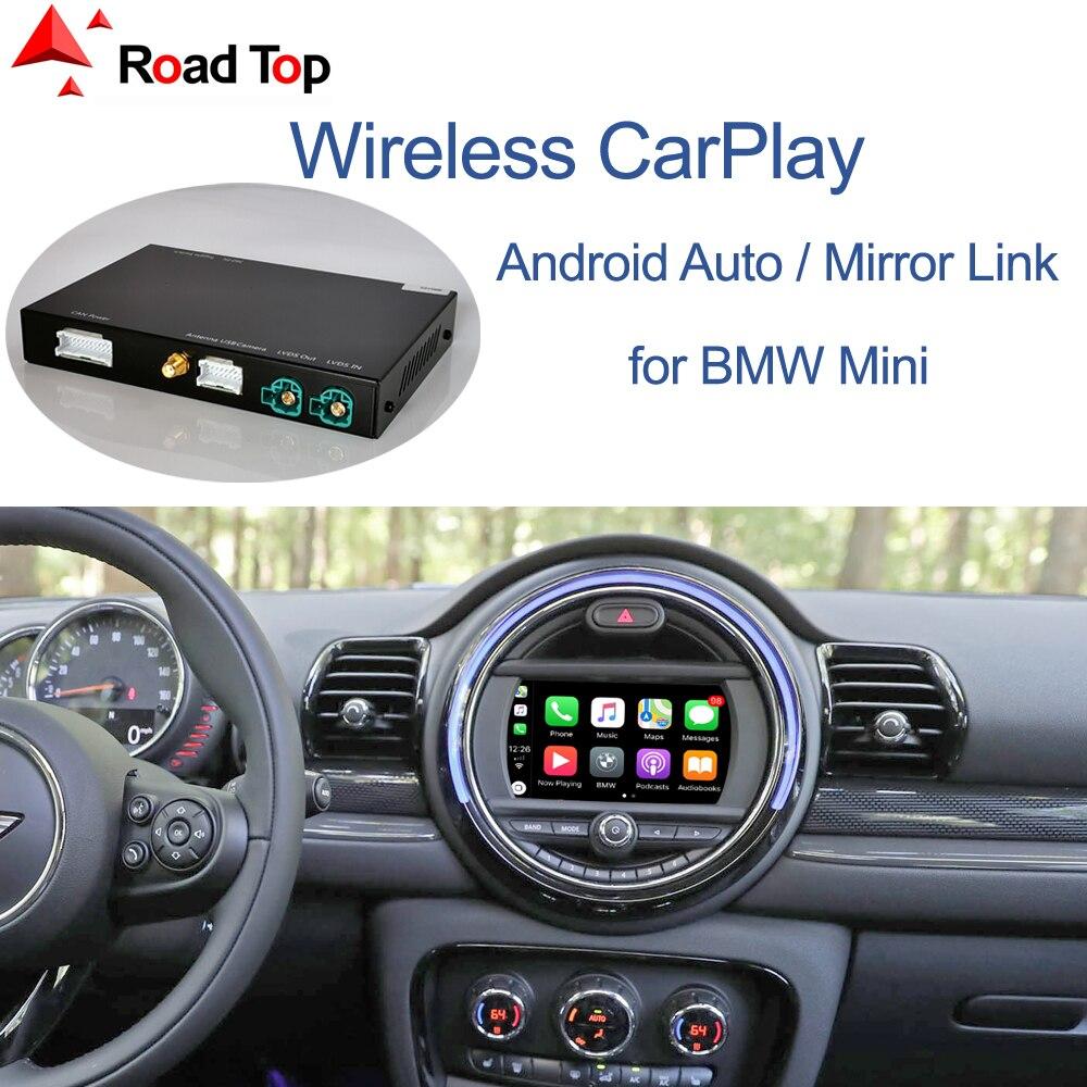 Sem fio carplay android auto para mini r55 r56 r57 r58 r59 r60 r61 f54 f55 clubman countryman hardtop cooper john cooper trabalhos