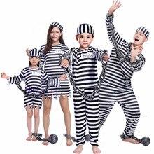 Adulto crianças listrado prisioneiro traje prisão terno uniforme correntes família combinando roupas cosplay para festa de halloween
