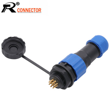 SP16 IP68 Waterproof Connector Male Plug & Female Socket 2/3/4/5/6/7/8/9 Pin Panel Mount Wire Cable Connector Aviation Plug image