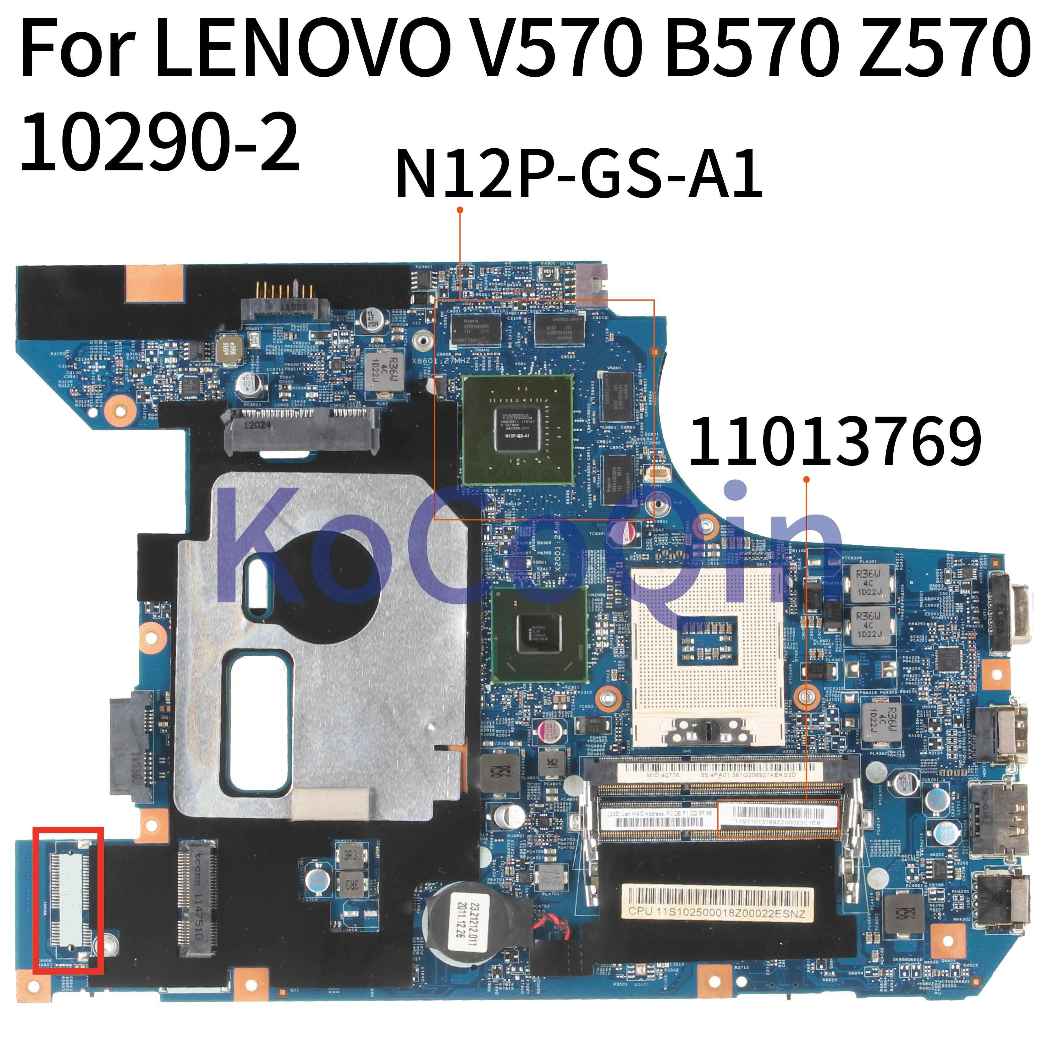 KoCoQin Laptop <font><b>motherboard</b></font> For <font><b>LENOVO</b></font> <font><b>V570</b></font> B570 Z570 GT540M 11013769 Mainboard 10290-2 48.4PA01.021 HM65 N12P-GS-A1 image