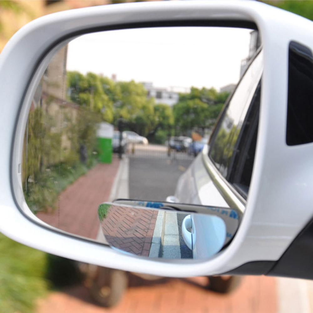 Anglebless 1 Pair Car Blind Spot Mirrors Frameless HD Glass Convex Wide Angle 360/° Rotatable Adjustable Stick-On Rear View Mirrors