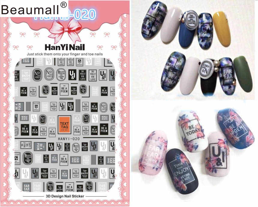 Letters Patterns! Nails Art Manicure Back Glue Decal Decorations Design Nail Sticker For Nails Tips Beauty