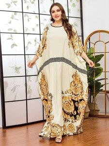 Large Size Women's Fashion Bat Sleeve Casual Printed Large Size Muslim Dress Long Abaya Dubai Abayas For Women Caftan Marocain