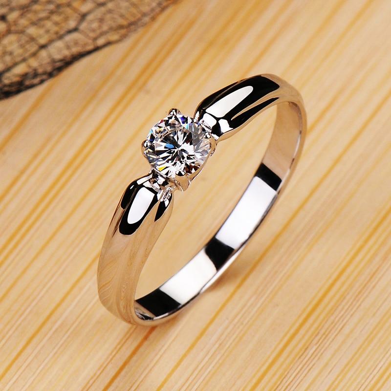 Anillo de compromiso de Plata de Ley 925 auténtica con piedra redonda pequeña de lujo para mujer, anillo de compromiso con solitario de cristal, anillos de boda para mujer