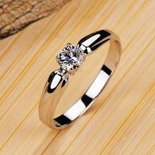 Luksusowe kobiet mały kamień okrągły pierścień prawdziwe 925 srebro pierścionek zaręczynowy pierścień kryształ Solitaire obrączki dla kobiet