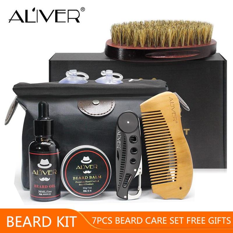 ALIVER 7pcs/set Men Beard Kit Styling Tool …