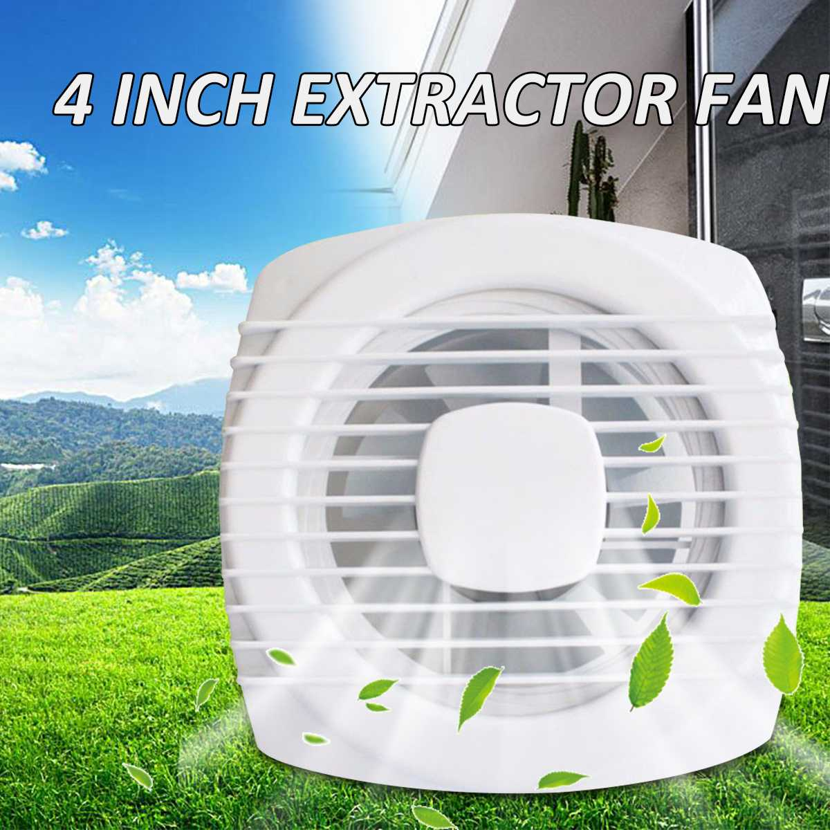 4 Inch 220V 12W Household Silent Extractor Exhaust Fan Hotel Glass Windows Wall Hang Kitchen Bathroom Toilet Ventilation Fan