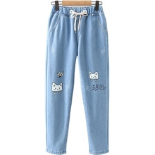 Denim Jeans Velvet Trousers Washed Blue Sweet-Style Cartoon-Print Winter Plus Woman Ankle-Length
