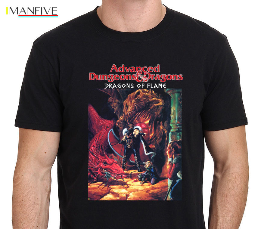 T Shirts Clothing Free Shipping O Neck Short Sleeve Fashion Mens Dungeons And Dragons Dragons Of Flame Vintage Game T Shirts