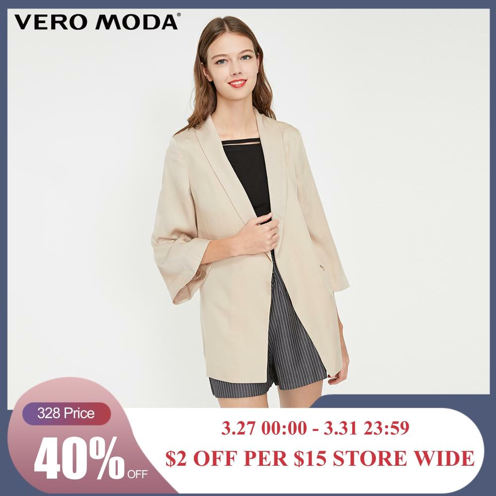 Vero Moda Women's Minimalist 3/4 Sleeves Waist Belt Lapel Blazer   319208506
