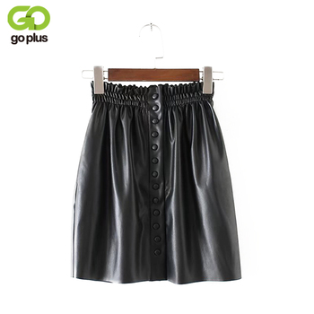 GOPLUS Winter Skirt Women 2020 Brand A-Line PU Leather Mini Skirts Buttons Elastic Waist Empire Black Pleated Skirt Female C4644 trendy women s elastic waist pu leather spliced skirt