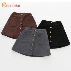 2019 New Arrival spódniczki dziewczęce jesienne zimowe guziki dla dzieci ubrania dla dzieci sztruksowe spódnice Baby little Girl spódnice dla 1 6 lat w Spódnice od Matka i dzieci na