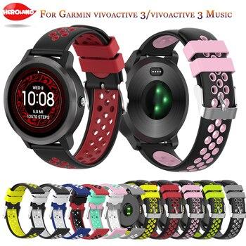 20mm Soft Silicone Watchband Strap for Garmin Forerunner 245 245M 645 Vivoactive 3 Smart Bracelet Watch Band Colorful Wristband 20mm silicone watch band strap for garmin forerunner 645