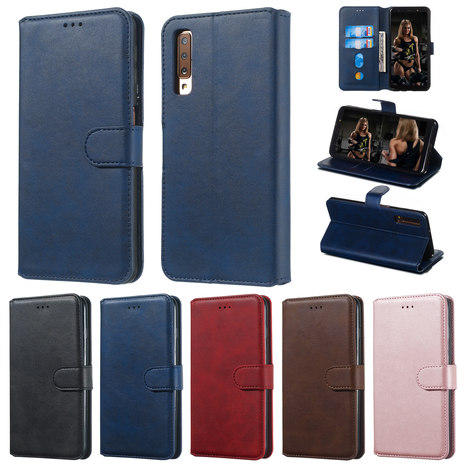 Retro Leather <font><b>Flip</b></font> Cover For <font><b>Samsung</b></font> Galaxy S20 Ultra S10 S9 S8 Plus J7 2016 J3 <font><b>J5</b></font> <font><b>2017</b></font> J4 J6 Plus A7 2018 A50 A51 Wallet <font><b>Case</b></font> image