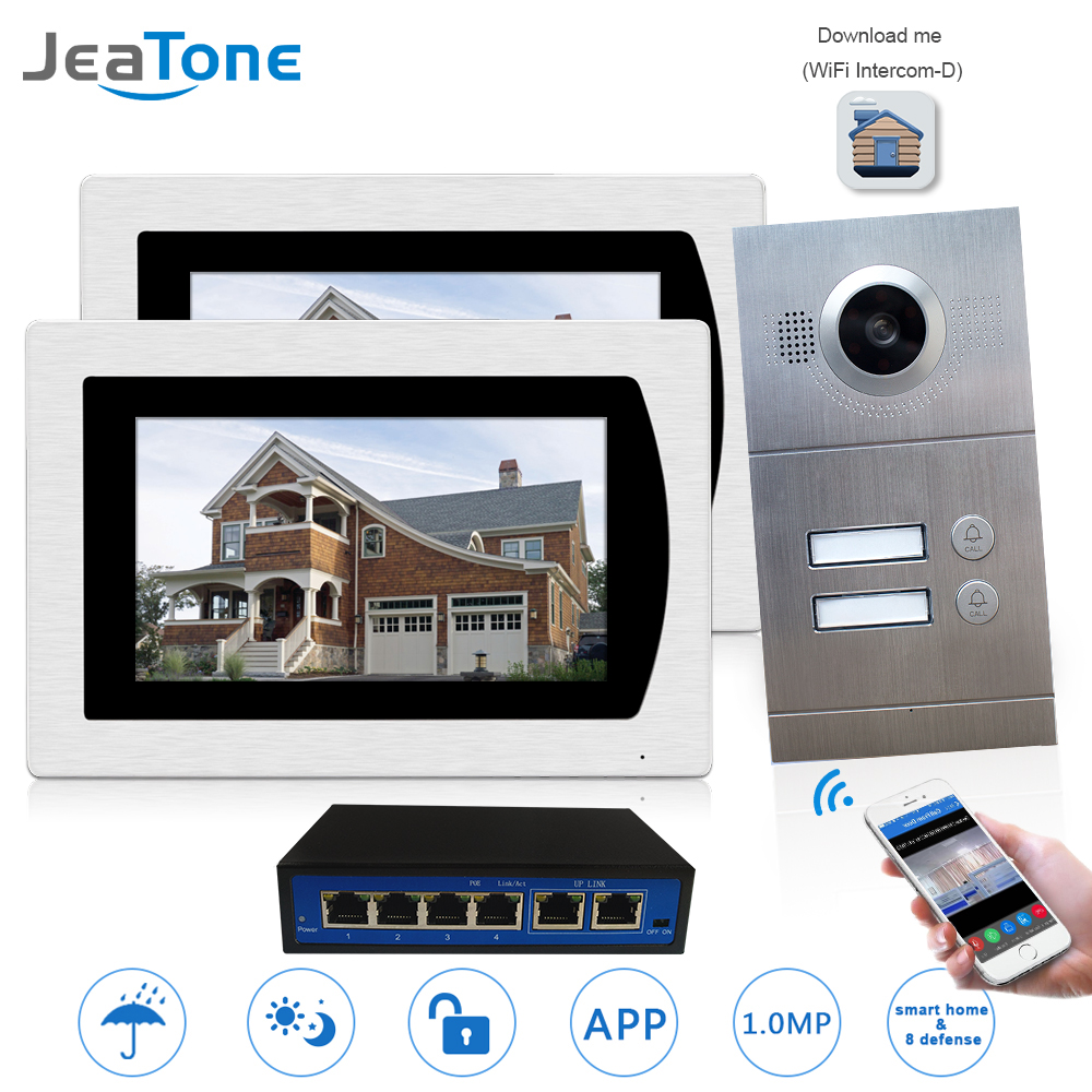 WIFI IP Video Door Phone Intercom System Wireless Video Doorbell 7'' Touch Screen For 2 Floor Apartment/8 Zone Alarm Support IOS