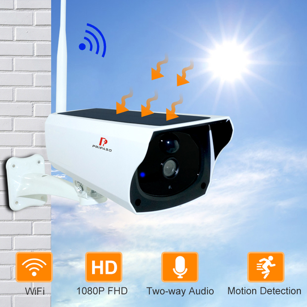 Pripaso 1080P WI FI Solar Camera HD Wireless IP67 Waterproof WiFi Exterior Security Surveillance CCTV IPcamera Two Way Audio Cam