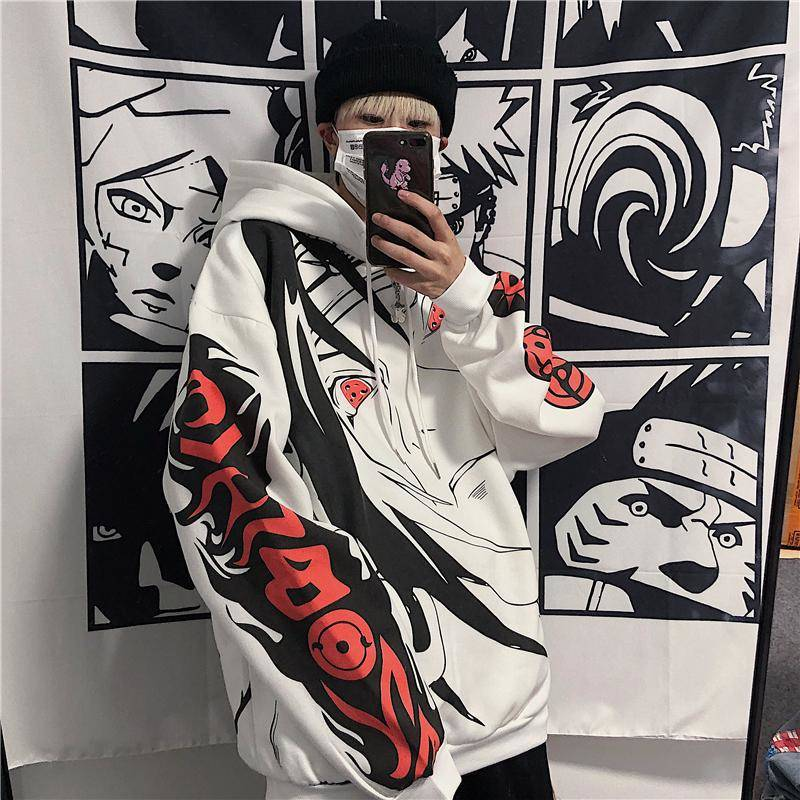 Anime Naruto Hoodies Streetwear Couple Winter Coat Fashion Loose Cartoon Sasuke Japan Hoodie Sweatshirt Unisex Hoodie Men Womens 3