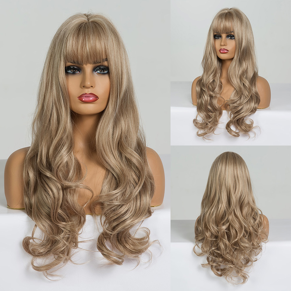 Image 5 - EASIHAIR Long Blonde Wavy Synthetic Wigs for Women Wigs with Bangs High Density Natural Cosplay Wigs Brown Ombre Heat ResistantSynthetic None-Lace  Wigs   -
