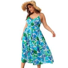 купить Fashion New Floral Print Dress Women Strap Beach Sleeveless Sexy Plus Size 3XL 4XL Flower Deep V-Neck Blue Off Shoulder A-Line дешево