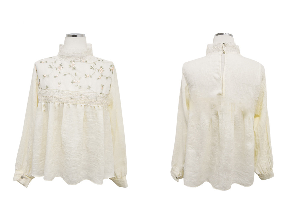 H7813f3d6dbe341b4a9daa11904445656m - Spring / Autumn Lace Stand Collar Long Sleeves Floral Embroidery Blouse