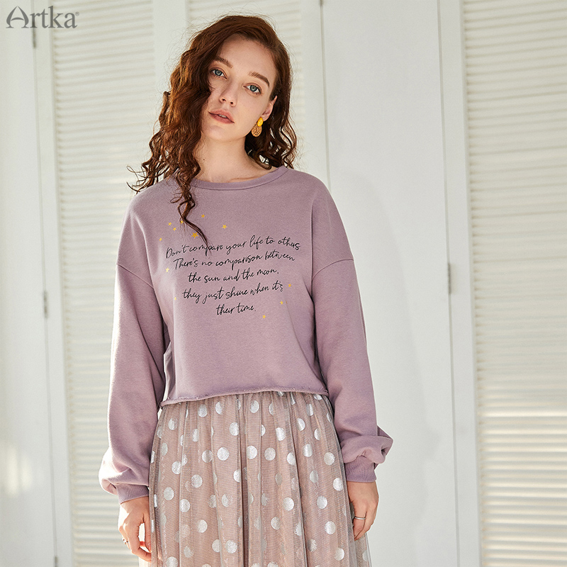 ARTKA 2019 Autumn New Female Sweatshirt O-Neck Pullover Loose Casual Sweatshirts Letter Printed Sweatshirt For Women VA15093Q