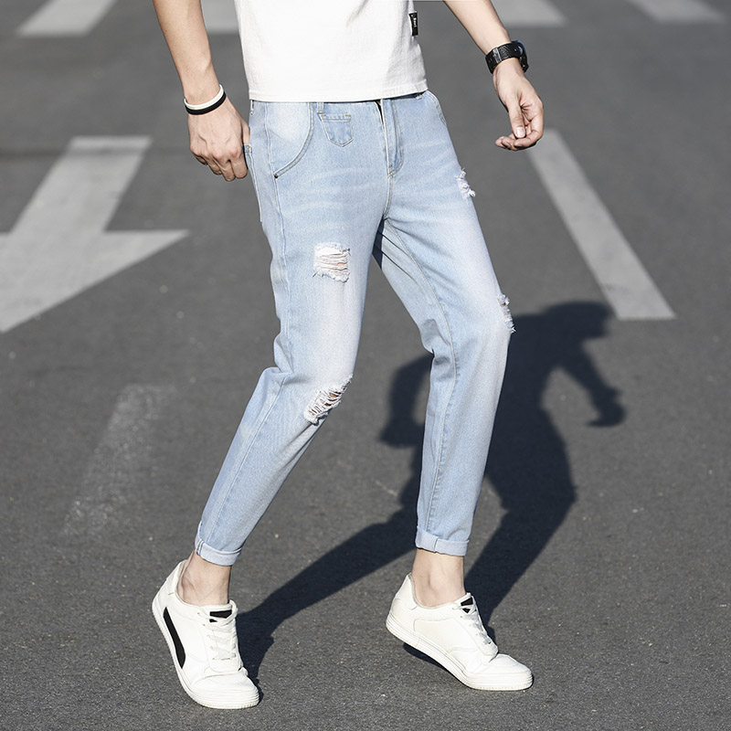 Spring And Autumn Fashion Men's Cotton And Linen Stretch Jeans Trousers Loose Holes Denim Street Korean Tight Skinny Pants