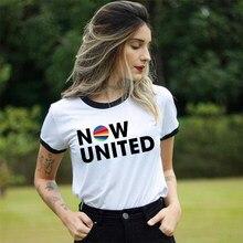Agora logotipo unido t camisa feminina 2020 verão roupas femininas moda estética gráfico camisa femme branco manga curta camisetas
