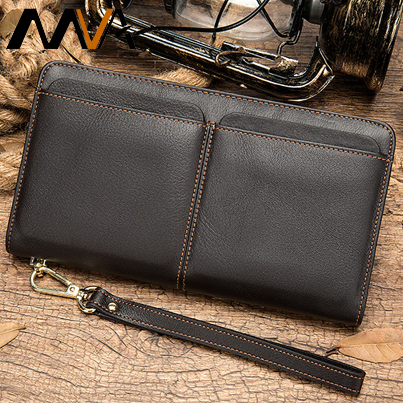 MVA Genuine Leather Men Wallet Male Clutch Coin Purse Men Wallets With Strap Portomonee Money Bag Phone Wallet Long Card Holders