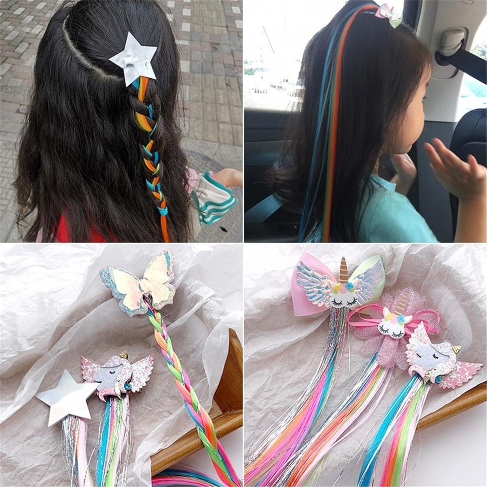 Colorful Bowtie Hair Clips For Girls Rainbow Glitter Wings Hair Bows Unicorn Princess Kids Long Wig Hairpins Hair Accessories