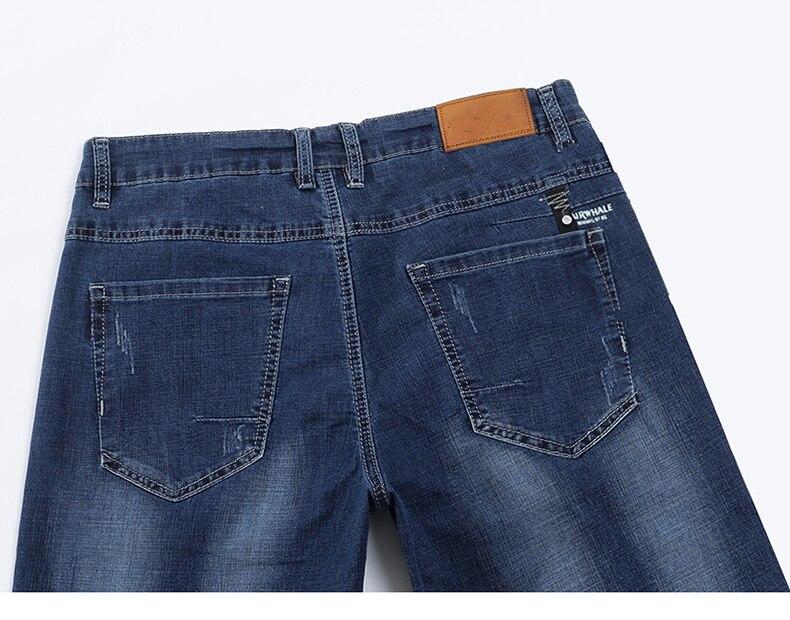 KSTUN Men Jeans Pants Denim Short Jeans Stretch Slim Fit Light Blue Fashion Pockets Designer Man