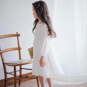 Image 4 - Menina vestido de manga longa branco vestidos de renda para meninas floral bonito vestido de princesa crianças primavera verão vestido de festa roupas