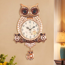 Owl pendulum living room luxury creative clock childrens watch home bedroom high-grade silent decoration