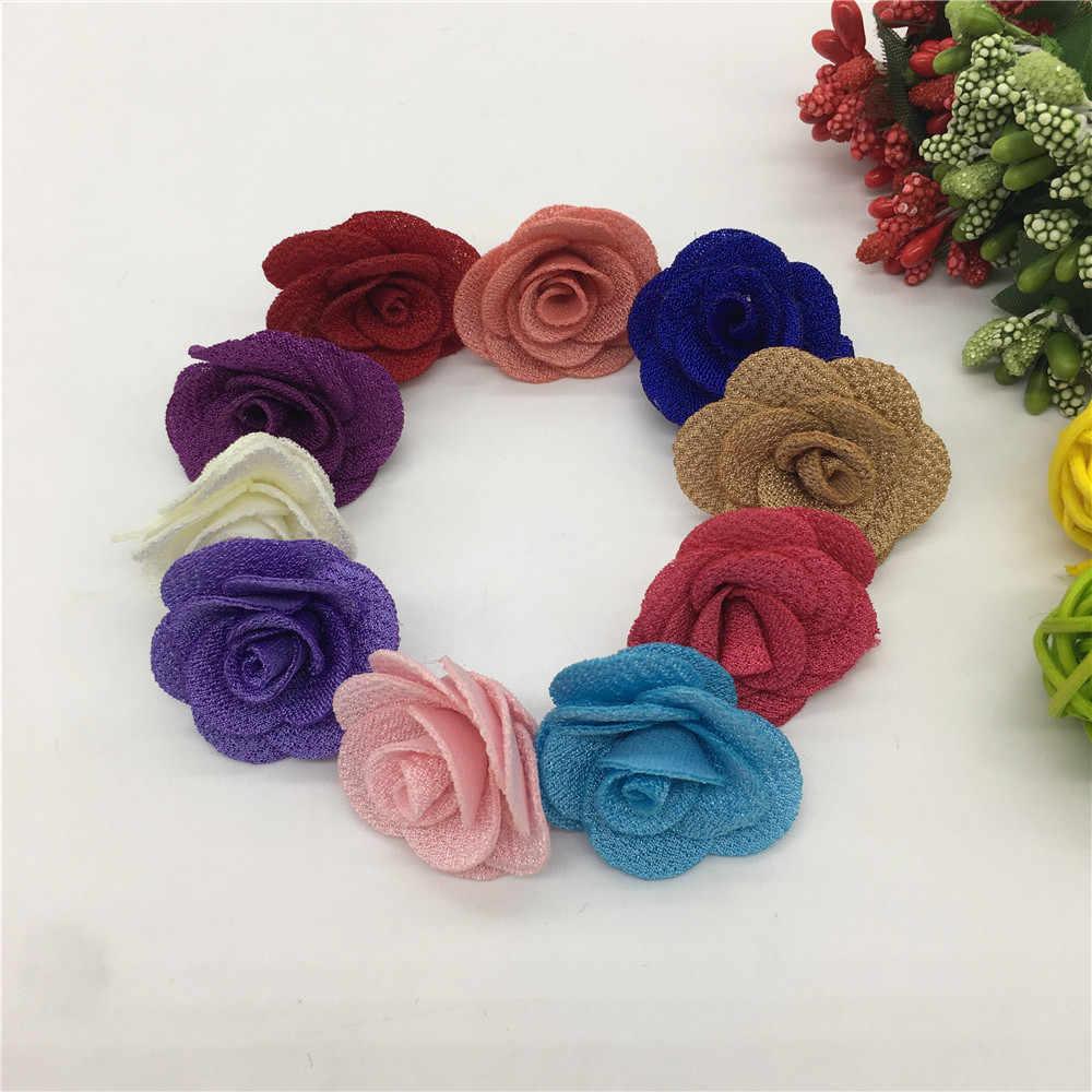 Flores 3D artificiales de cáñamo perladas de varios colores para decoración, adornos navideños para el hogar, accesorios de costura DIY