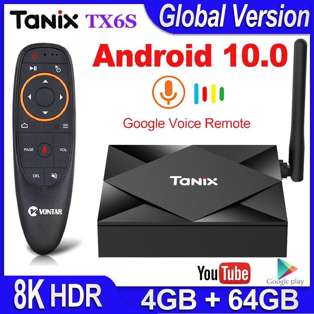 Tanix TX6S приставка для ТВ андроид 10 Смарт-приставка для ТВ 4 Гб Оперативная память 32GB/64GB Встроенная память TVBox Allwinner H616 4 ядра коробка H.265 4 к HD мед...
