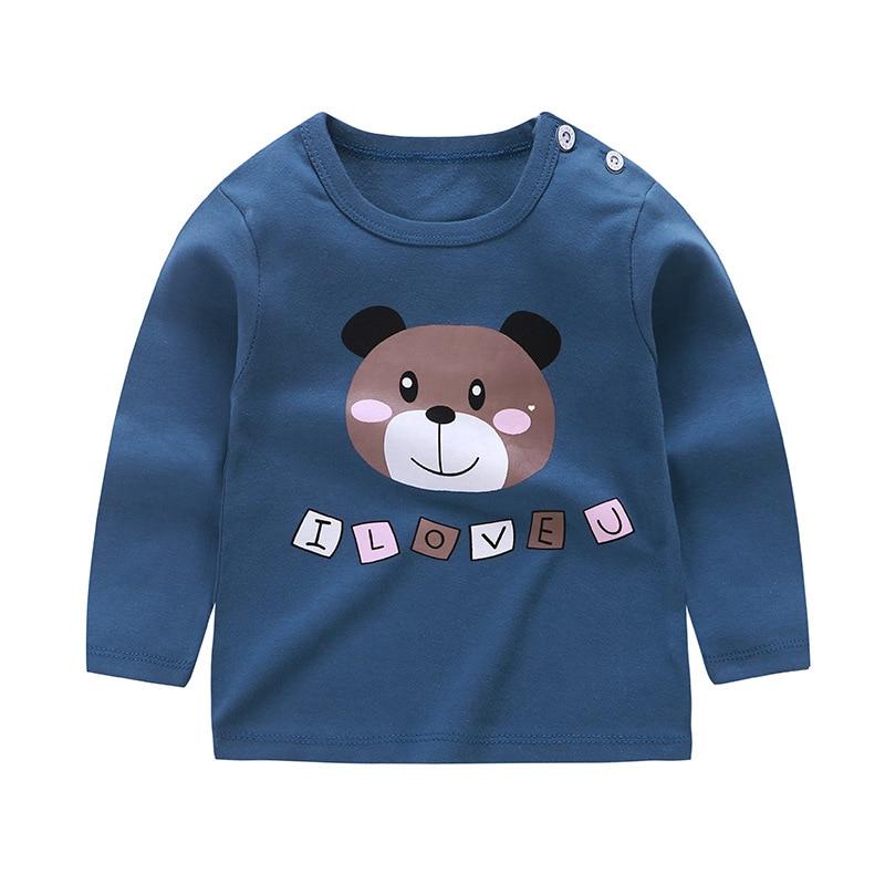 От 6 месяцев до 5 лет унисекс; сезон осень-зима; хлопковая футболка с длинными рукавами и героями мультфильмов; футболки для маленьких мальчиков и девочек; детская повседневная одежда; одежда с круглым вырезом - Цвет: F018