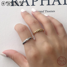 OBEAR 100% 925 Sterling Silver Rings Gold Silver Texture Irregular Foil Paper Open Rings For Women Jewelry Gift недорого