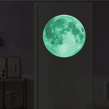 Large Luminous Moon 3D Effect Wall Stickers for Kids Room Home Decoration Wall Decals Glow in the Dark Living Room Bedroom Mural(China)
