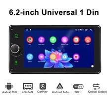 Android 10.0 4GB 64GB unità principale da 6.2 pollici Octa Core 1 din universal car radio player navigazione GPS video stereo FM supporto 4G BT
