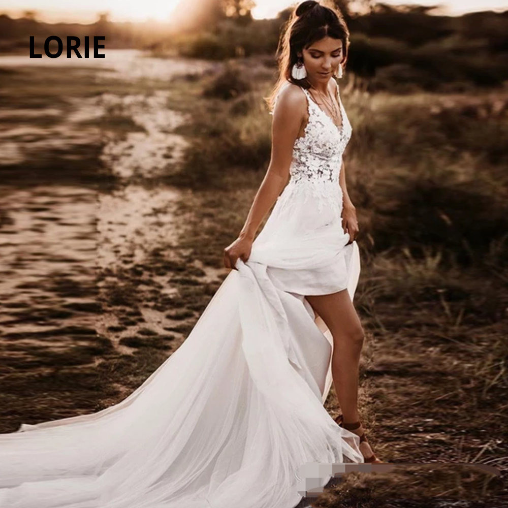 LORIE Sleeveless Lace Wedding Dresses Open Back V-neck Elegant Lace Appliqued With Soft Tulle Bridal Gowns With Train Mariage