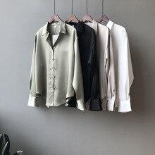 2020 new chic casual loose poplin shirt female temperamen silk blouse shirt women elegant Korean solid color oversize top