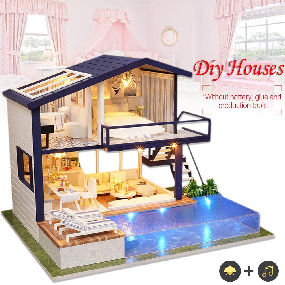 Bricolage en bois Cottage appartement artisanat musique + luminate petite maison poupée manuelle décor à la maison anniversaire cadeau de noël pour les enfants