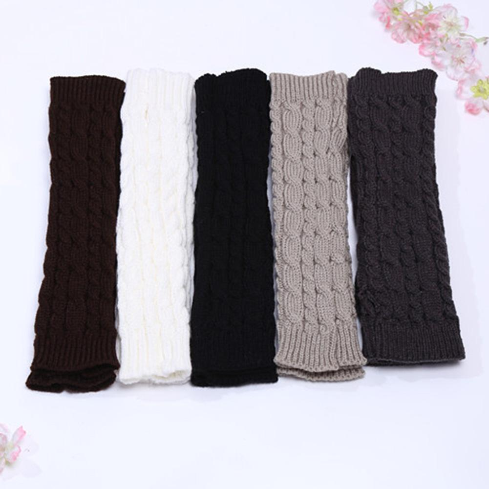 Women Lady Winter Solid Color Knitted Twist Fingerless Thumb Hole Gloves Arm Warmers