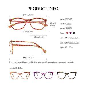 Image 5 - Sasamia 猫メガネフレーム女性眼鏡クリア処方眼鏡光学フレームアセテート近視メガネ女性眼鏡