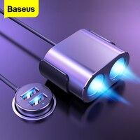 Baseus-enchufe de encendedor de coche, divisor de cargador, USB Dual, 100W, carga rápida, adaptador de corriente